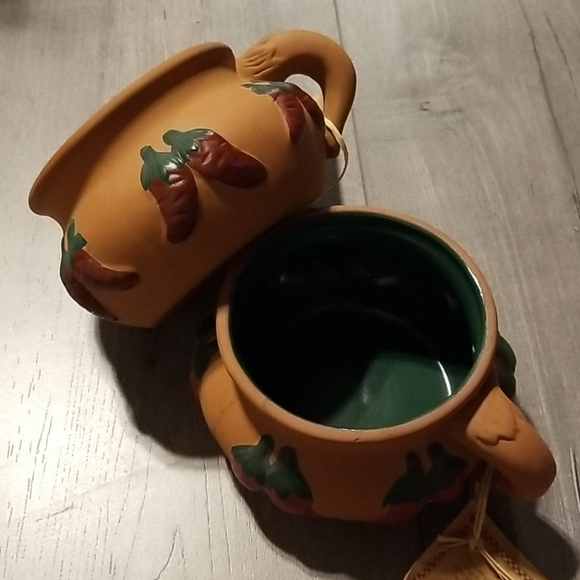 SALSA CUPS TERRACOTTA WITH GREEN GLAZE